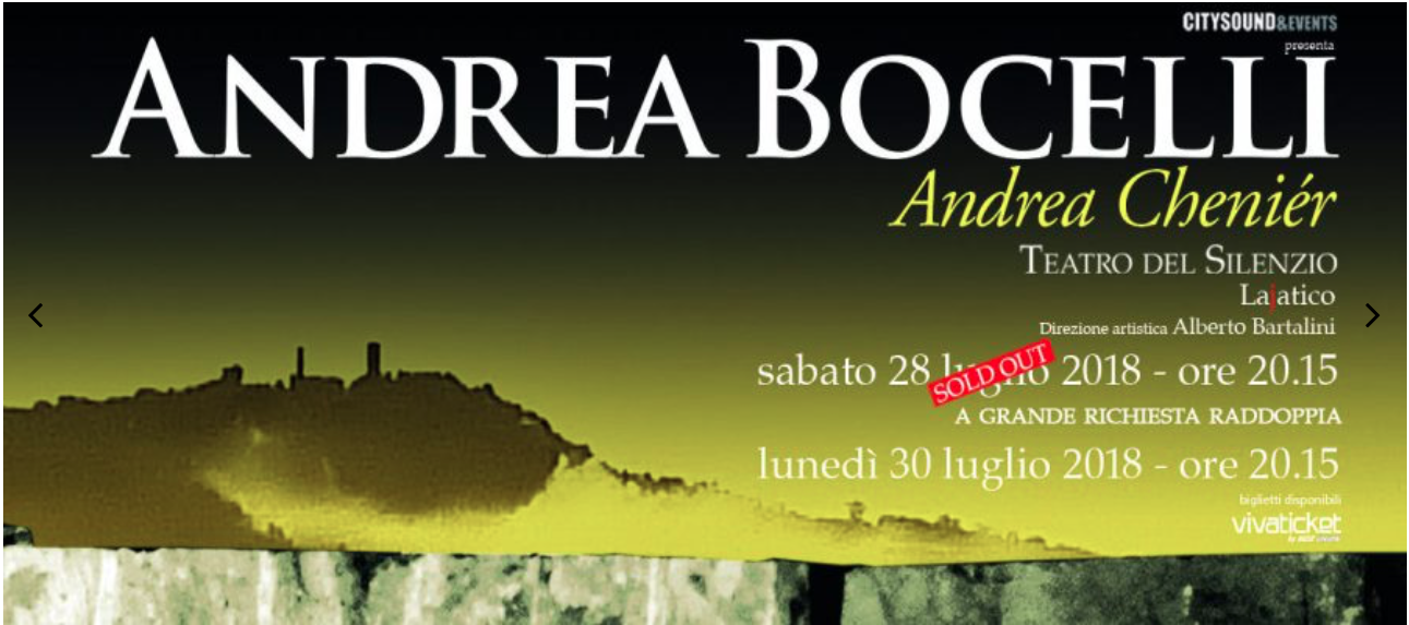 Also happening this summer near Lucca: Andrea Bocelli, in a spectacular scenery